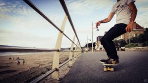 Skate en bord de mer